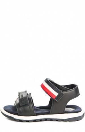 Кожаные сандалии с двойной застежкой велькро Moncler Enfant. Цвет: темно-синий