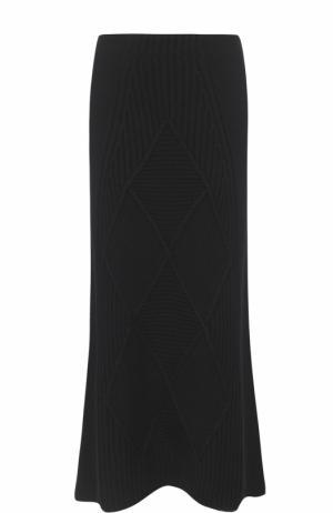 Шерстяная юбка-миди фактурной вязки Kenzo. Цвет: черный