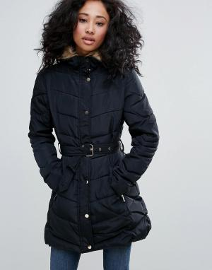 Urban Bliss Пальто с поясом и воротником из искусственного меха. Цвет: черный