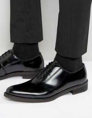 Zign Блестящие кожаные оксфордские туфли. Цвет: черный