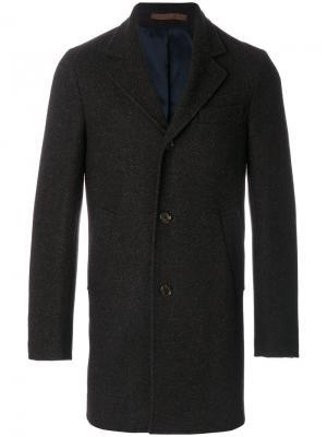 Пальто с узором елочкой Eleventy. Цвет: серый