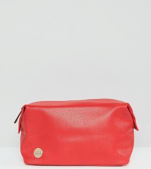 Mi-Pac Ярко-красная косметичка из мятой искусственной кожи. Цвет: красный