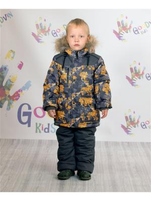 Комплект (куртка, ПК) зимний для мальчика Макар GooDvinKids. Цвет: оранжевый, серый