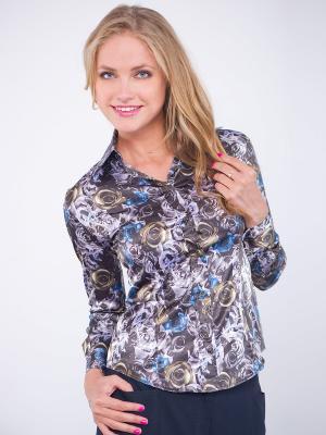 Блузка PELICAN. Цвет: коричневый, голубой