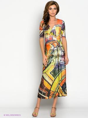 Платье МадаМ Т. Цвет: желтый, белый, фиолетовый, оранжевый