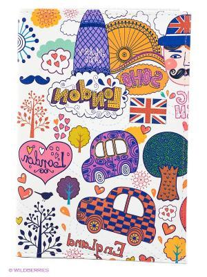Обложка для автодокументов Праздничный Лондон Mitya Veselkov. Цвет: белый, фиолетовый, красный
