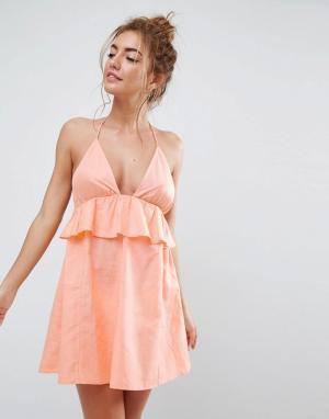 ASOS Пляжный сарафан-халтер с рюшами. Цвет: оранжевый