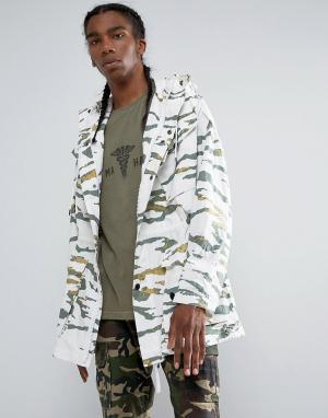 Maharishi Длинная куртка с камуфляжным принтом. Цвет: зеленый