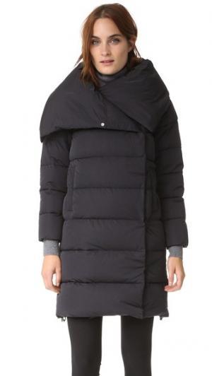 Длинное пальто Add Down. Цвет: голубой