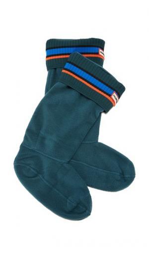 Носки под ботинки Buoy в полоску Hunter Boots. Цвет: синий/лазурный/зубчатый