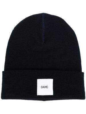 Beanie hat with patch Omc. Цвет: синий