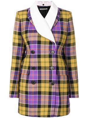 Двубортная куртка с принтом тартан Alessandra Rich. Цвет: многоцветный