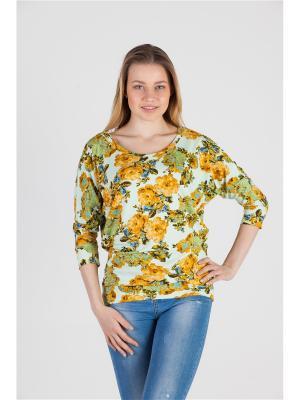 Блуза Летучая мышь Ням-Ням. Цвет: светло-зеленый, желтый