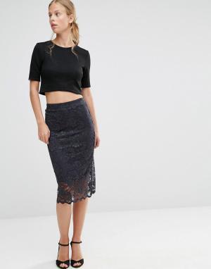 Ganni Кружевная юбка с фактурной отделкой по краю. Цвет: мульти