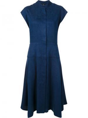 Расклешенное платье с потайной застежкой Zero + Maria Cornejo. Цвет: синий