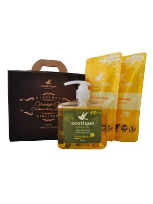 Набор средств для мытья посуды, фруктов и овощей с маслом апельсина (1 средство + 2 запасных блока) Ecotique. Цвет: светло-коричневый
