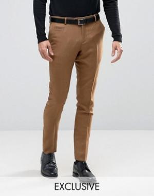 Number Eight Savile Row Строгие зауженные брюки в клетку. Цвет: бежевый
