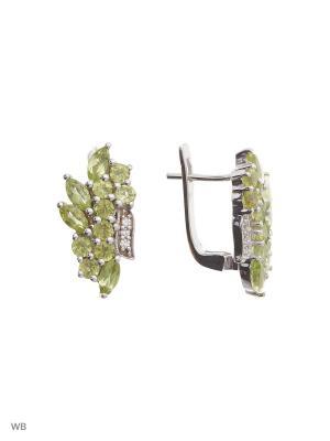 Серьги PRESHAS SILVER. Цвет: серебристый, оливковый, салатовый