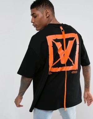 Vision Air Черная oversize-футболка с принтом на спине и кантом Visionair. Цвет: черный