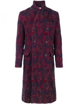 Двубортное пальто с абстрактным рисунком Uma Wang. Цвет: красный