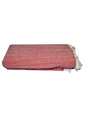 Плед вязанный, дизайн Елочка 1,5сп Dorothy's Нome. Цвет: красный, белый