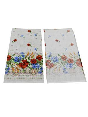 Набор полотенец Рогожка Римейн. Цвет: белый, голубой, красный