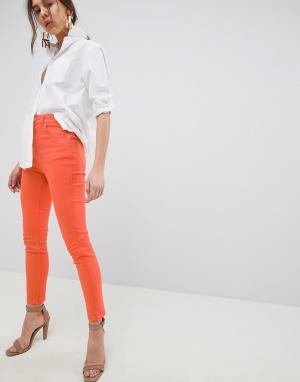 ASOS Оранжевые джинсы в винтажном стиле узкого кроя с завышенной талией и к. Цвет: оранжевый