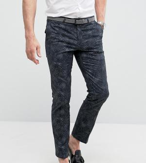 Noose & Monkey Супероблегающие строгие брюки с принтом. Цвет: серый