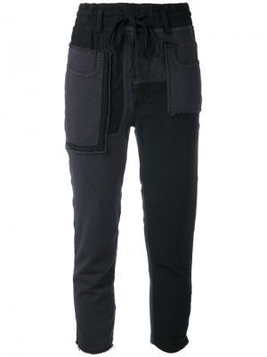 Укороченные брюки в стиле пэчворк Haider Ackermann. Цвет: чёрный