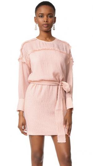 Платье с поясом и длинными рукавами Intropia. Цвет: оранжевый