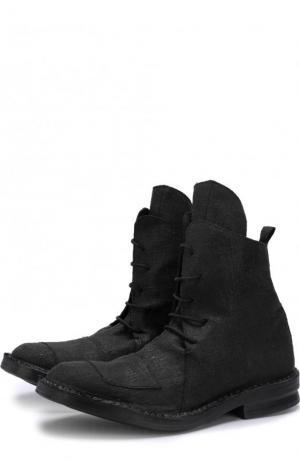 Высокие текстильные ботинки на шнуровке Masnada. Цвет: черный
