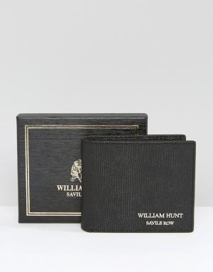 William Hunt Черный кожаный бумажник. Цвет: черный