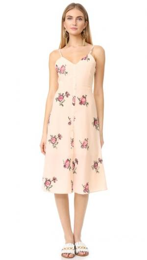Миди-платье с цветочной вышивкой ENGLISH FACTORY. Цвет: телесный, розовый