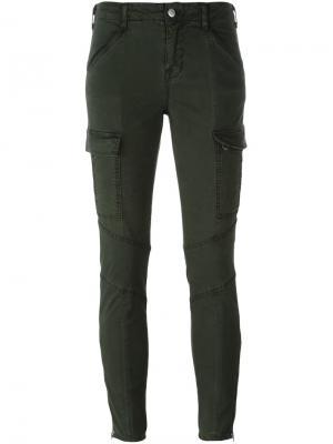 Укороченные брюки скинни J Brand. Цвет: зелёный