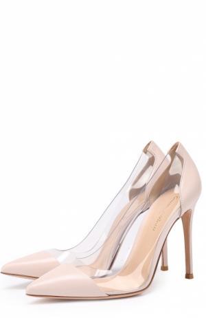 Кожаные туфли Plexi на шпильке Gianvito Rossi. Цвет: светло-розовый