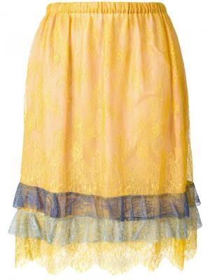 Кружевная юбка Philosophy Di Lorenzo Serafini. Цвет: жёлтый и оранжевый