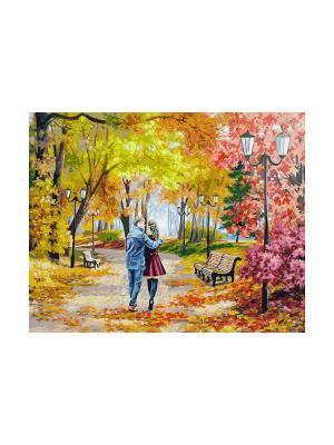 Живопись на холсте 40х50 см. Осенний парк, скамейка, двое Белоснежка. Цвет: белый