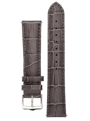 Классический ремешок для часов из кожи теленка с фактурой под аллигатора, Ширина от 14 до 24 мм Signature. Цвет: серый