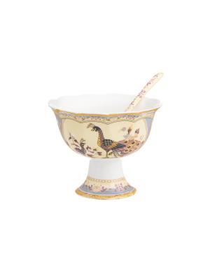 Креманка Павлин на бежевом Elan Gallery. Цвет: бежевый,желтый,коричневый