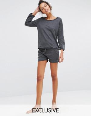 Lazy Days Пижамные шорты. Цвет: серый
