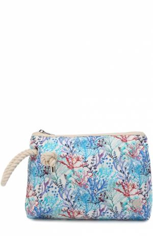 Клатч из текстиля с принтом Bonfanti. Цвет: голубой