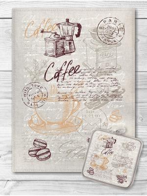 Набор кухонный Кофейная тема GrandStyle. Цвет: рыжий, коричневый, светло-серый