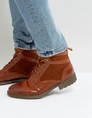 ASOS Светло-коричневые ботинки из искусственной кожи на шнуровке. Цвет: рыжий