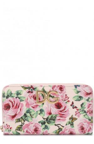 Кожаное портмоне с цветочным принтом на молнии Dolce & Gabbana. Цвет: розовый