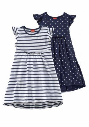 Платье, 2 штуки KIDOKI. Цвет: темно-синий/белый