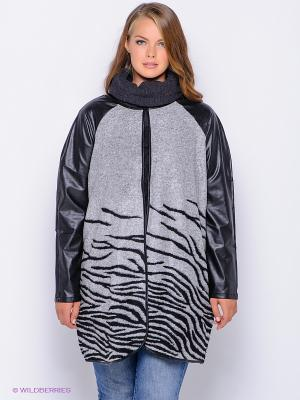 Пальто JUNAROSE. Цвет: серый, черный