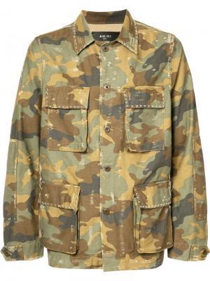 Куртка-рубашка в стиле милитари Amiri. Цвет: зелёный