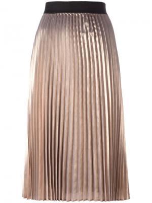 Плиссированная металлизированная юбка Essentiel Antwerp. Цвет: металлический