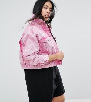 ASOS Curve Выбеленная розовая джинсовая куртка. Цвет: розовый