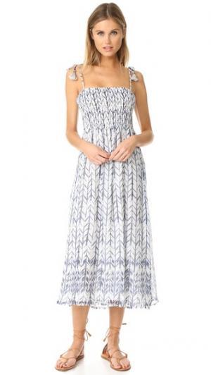 Миди-платье с присборенным лифом Love Sam. Цвет: акварельный принт в виде стрелы